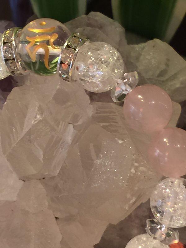 画像3: クリスタルクォーツ(水晶・梵字カーン)×ローズクォーツのブレスレット【愛情・浄化・厄除け・魔除け・酉(とり)年生まれの守護尊】