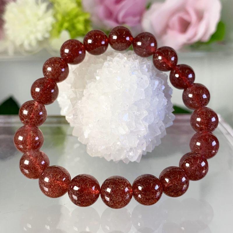 画像1: 真紅!ディープローズ・エピドートシスト タンザニア産 ブレスレット 天然石・高品質・一点物 (1)