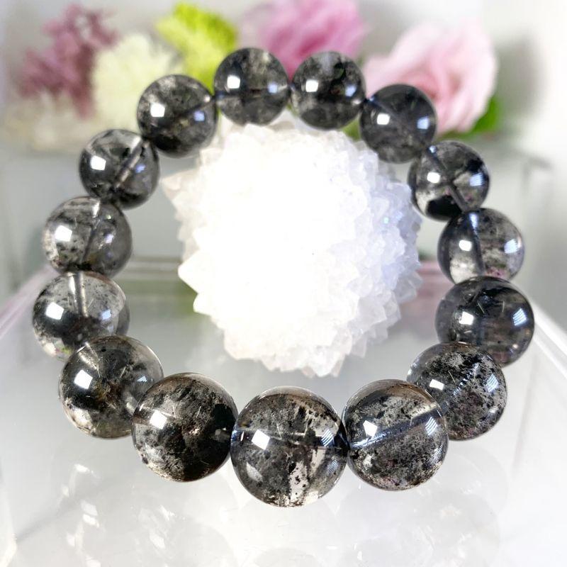 画像1: 幻想的!透明!ブラック・ファントムクォーツ ブレスレット 天然石・高品質・一点物 (1)