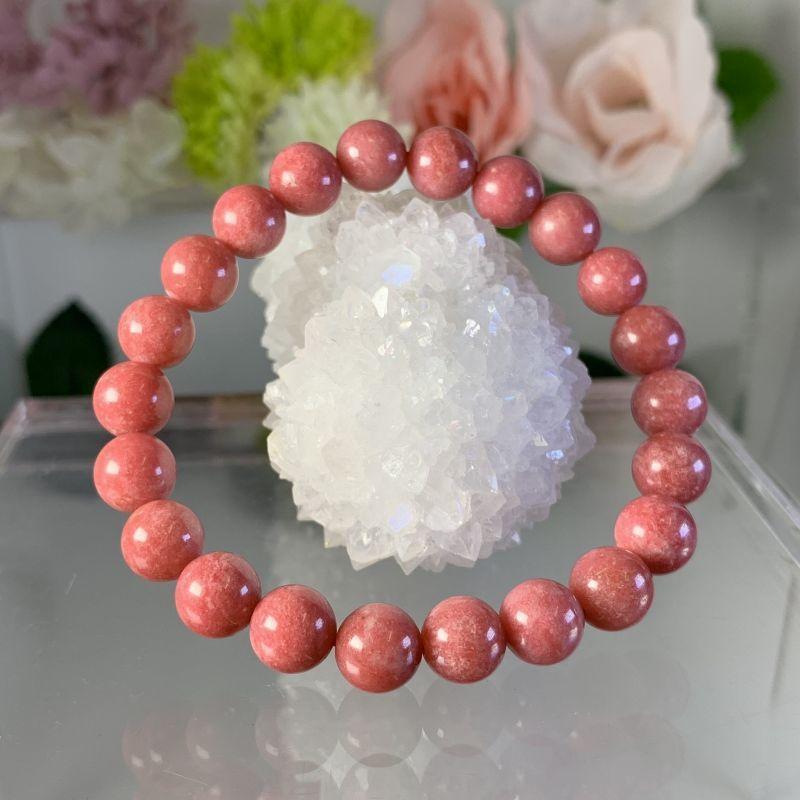 画像1: 希少!濃色!優しさ・愛の薔薇輝石!ロードナイト アメリカ産  ブレスレット天然石 (1)