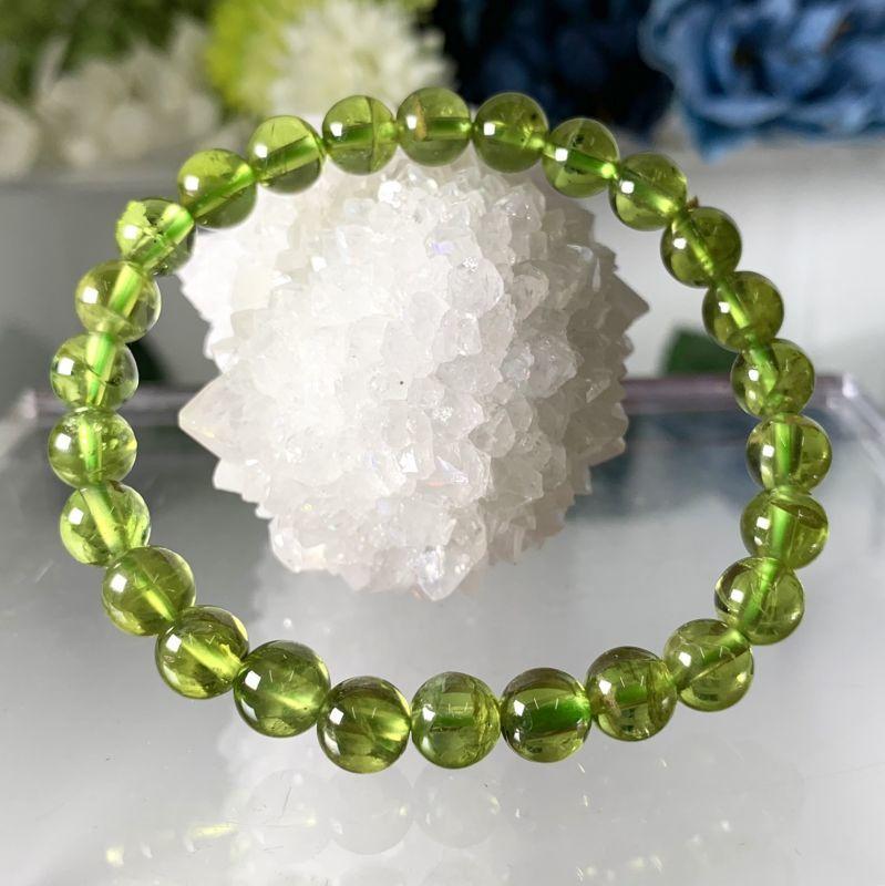 画像1: クリア!濃色!ペリドット ミャンマー産 ブレスレット 天然石・高品質・一点物 (1)