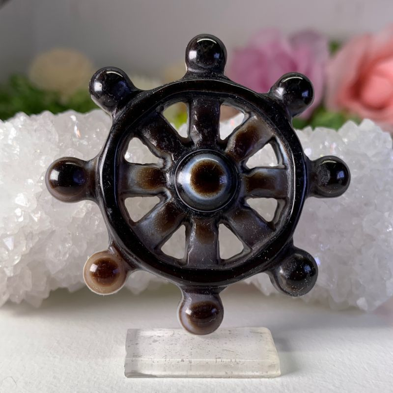 画像1: チベット・天眼石 法輪 最強・魔除け・願いを叶える☆天然石☆チベット密教☆ (1)
