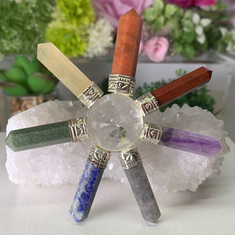 画像1: 7カラージェネレーター・ヒマラヤ水晶・チャクラ対応 浄化・活性化・集中力 天然石 (1)