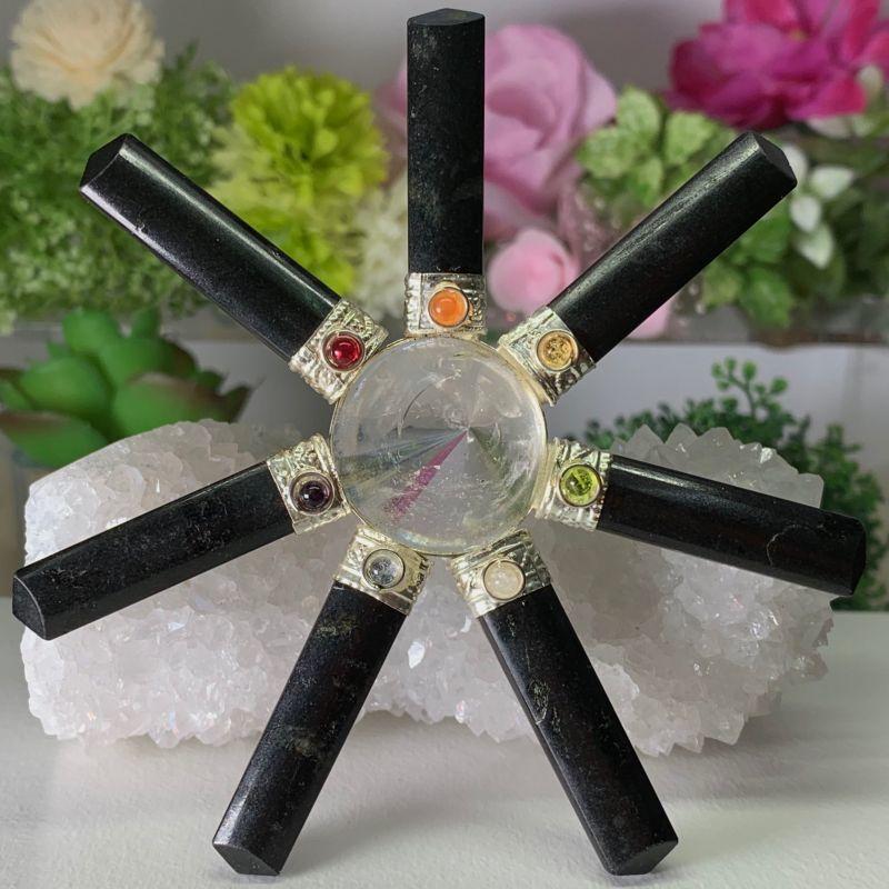 画像1: ジェネレーター・ブラックトルマリン・ヒマラヤ水晶・7チャクラ対応 浄化 天然石 (1)