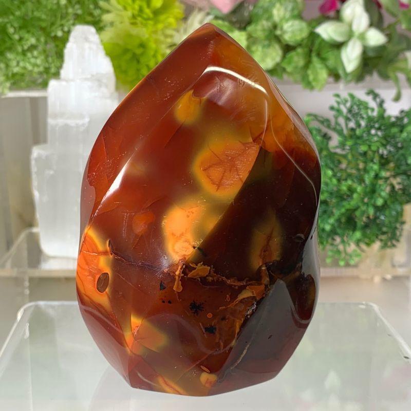 画像1: レッドフレイム・カーネリアン・ツイストシェイプ 血行良くする・運気アップ 天然石  (1)