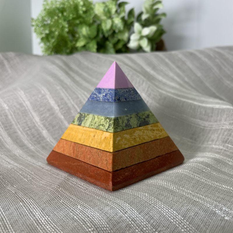 画像1: ピラミッド型・七色天然石チャクラ対応 浄化・生命力の活性化・成功と繁栄 天然石 (1)