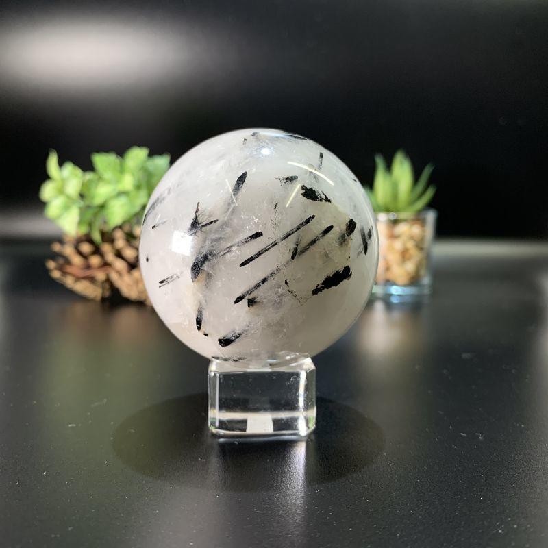 画像1: ブラックトルマリン・イン・クォーツ 球体(スフィア)  邪気払い 天然石 (1)