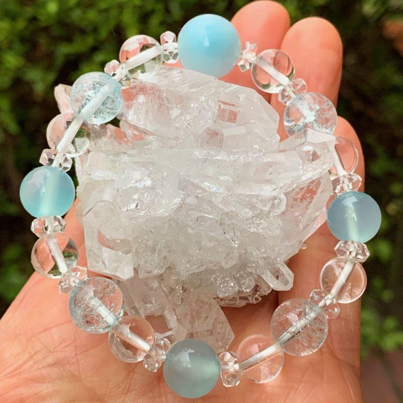 画像1: ヒーリングストーン!ラリマー・シーブルーカルセドニー・水晶 ブレスレット 天然石 (1)